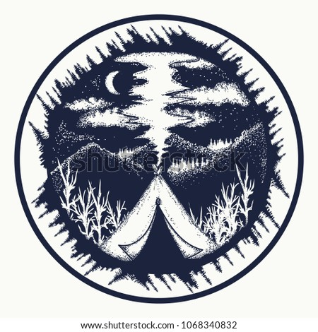 Camping in the mountains moon night t-shirt design. Travel symbol, tourism, extreme sports, outdoor