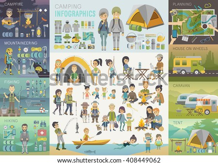 Camping Infographic set with people and objects. Vector illustration. - stock vector