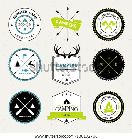 Camping labels set - stock vector