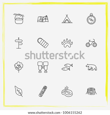 Camping line icon set wood, tent and street