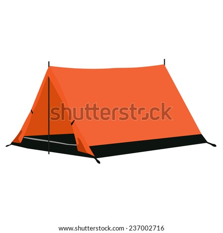 Camping tent, camping equipment, camping tent isolated on white - stock vector