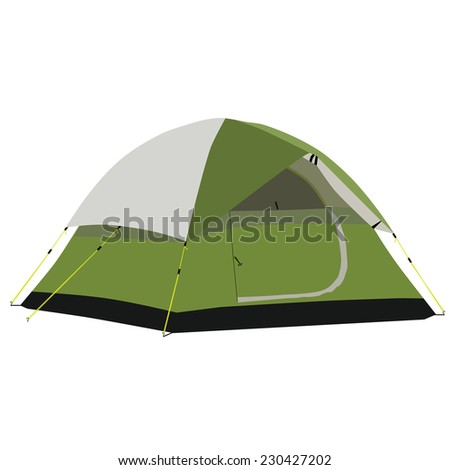 Camping tent, camping equipment, tourism, green tent - stock vector
