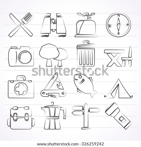 Camping, tourism and travel icons - vector icon set - stock vector