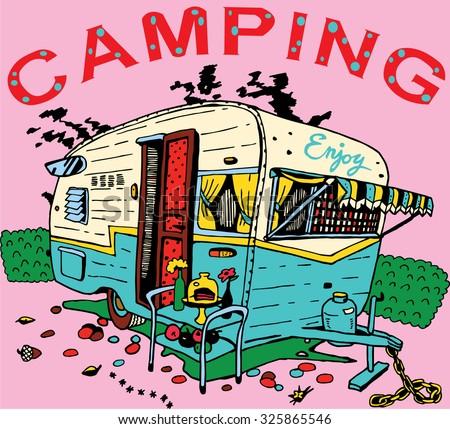 Camping Trailer, Retro Style - stock vector