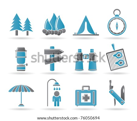 Camping, travel and Tourism icons - vector icon set - stock vector