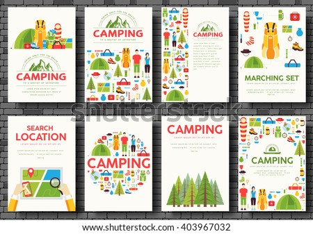 Camping trip cards set. Hiking template of flyear, magazines, posters, book cover, banners. Trave tourl infographic concept background. Layout illustrations template pages with typography text - stock vector