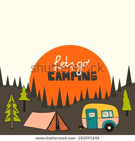Camping vector background with sun and forest - stock vector