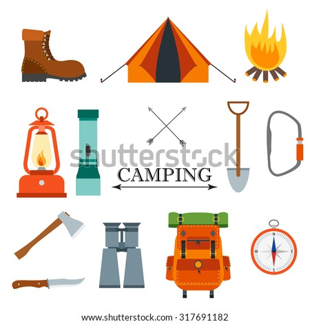 Camping vector flat icon set with compass, tent, knife, backpack, fire, campfire, flashlight axe, shovel, binocular, ax, carbine, boot. For travel, outdoor, hiking design - stock vector