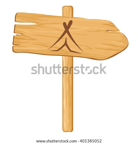 camping. Vector wooden pointer to a white background. illustration