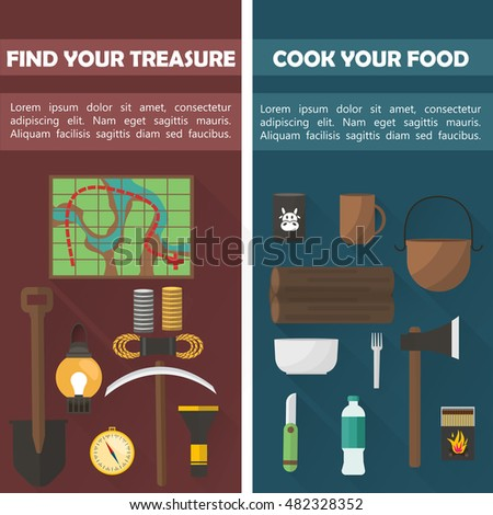 Camping Vertical flat banners with search of treasure and food preparation on dark backgrounds isolated vector illustration
