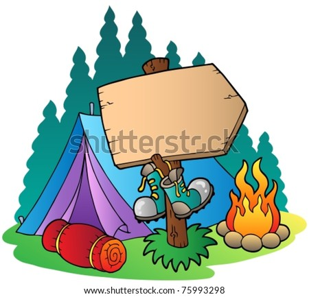 Camping wooden sign near tent - vector illustration. - stock vector