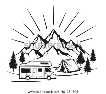 Campsite Camper Caravan Tent Rocky Mountains Stock Vector
