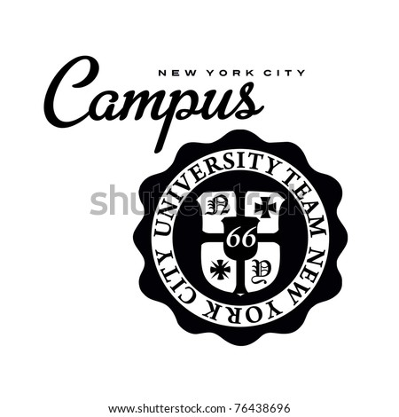 campus university print - stock vector