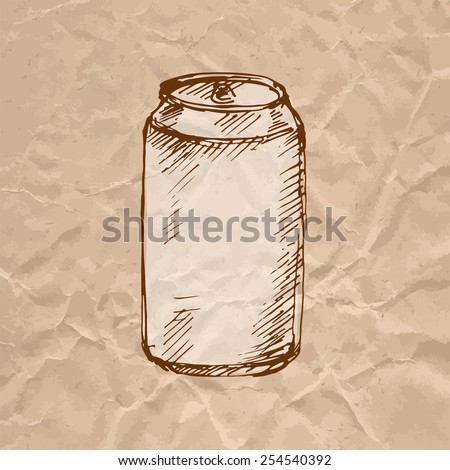 Can aluminum. Sketch on crumpled kraft paper background. Vector illustration. - stock vector