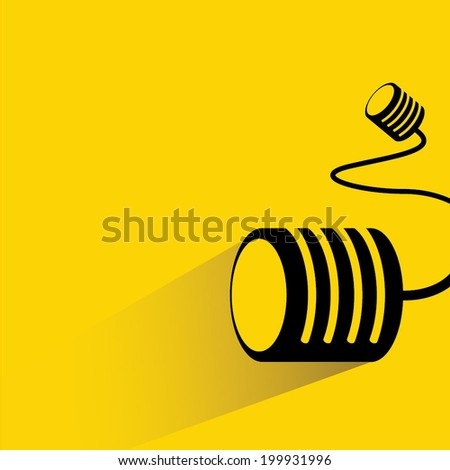 can telephone, communication concept, yellow background flat and shadow theme  - stock vector