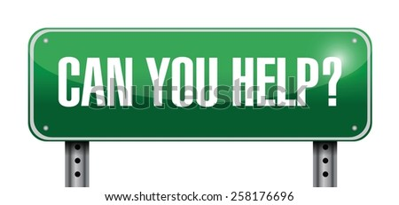 can you help sign illustration design over white - stock vector