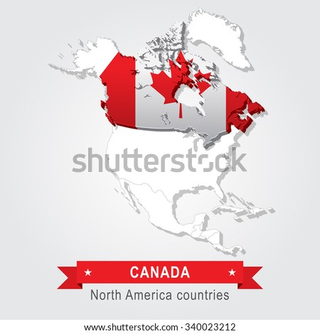 Canada. All the countries of North America. Flag version.