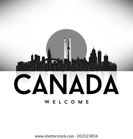 Canada Black Skyline, greeting card design, vector illustration. - stock vector