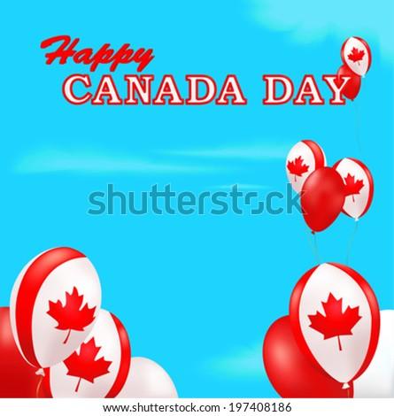 Canada Day background. Balloons decorated with maple-leaf and blue sky background. Vector.