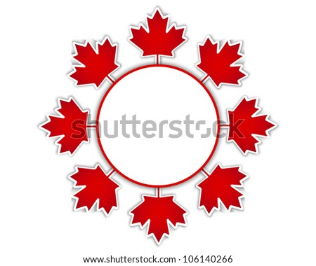 Canada Day stickers with a maple leaves and shadow.10 EPS. Vector illustration.