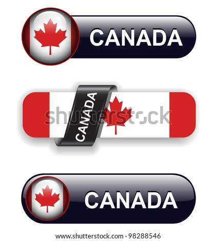 Canada flag banners, icons theme. - stock vector