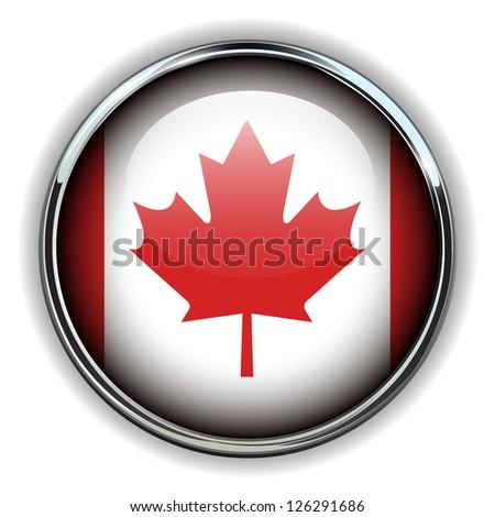 Canada flag button - stock vector
