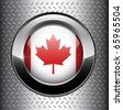 Canada flag button on metal background, vector. - stock vector