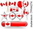 Canada flag buttons and icons. eps10 Vector. - stock vector