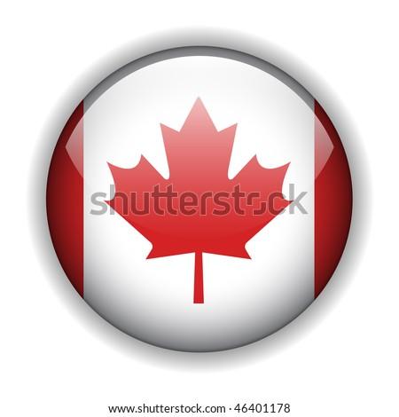 Canada flag glossy button, vector - stock vector