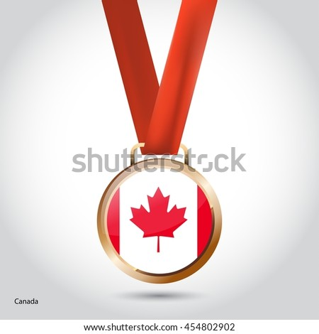 Canada Flag in Bronze Medal. Olympic Game Bronze Medal. Vector Illustration - stock vector