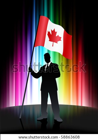 Canada Flag with Businessman on Abstract Spectrum Background Original Illustration - stock vector