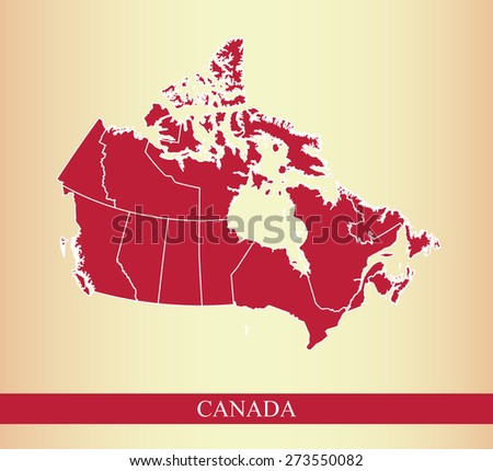 Canada map colored with the color of Canadian flag, red, and with boundaries/ polygons of districts or provinces or states on an abstract background - stock vector