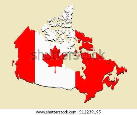 Canada Map Flag Vector Illustration Stock Vector 2018 512239195