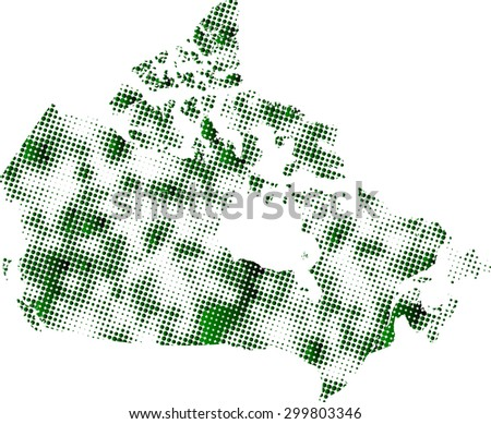 Canada map vector in dots patterns with a green color gradient, Canada map outlines in a contrasted dots background - stock vector