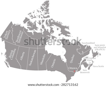 Canada map vector with names of provinces, Canada map outlines in grey background - stock vector