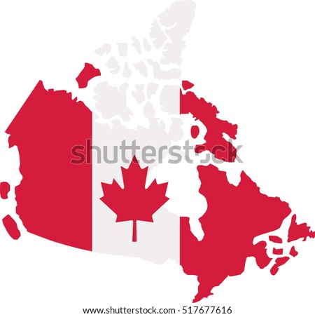 Canadian Map Canada Flag Stock Vector Shutterstock - Canada map with flag