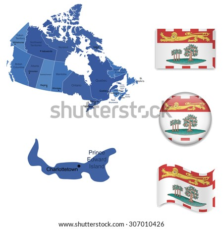 Canada-Prince Edward Island-Map and Flag Collection - stock vector