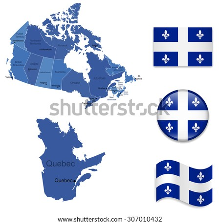 Canada-Quebec-Map and Flag Collection - stock vector