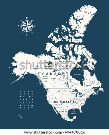 Canada Map Stock Images RoyaltyFree Images Vectors Shutterstock - Us mexico vector map