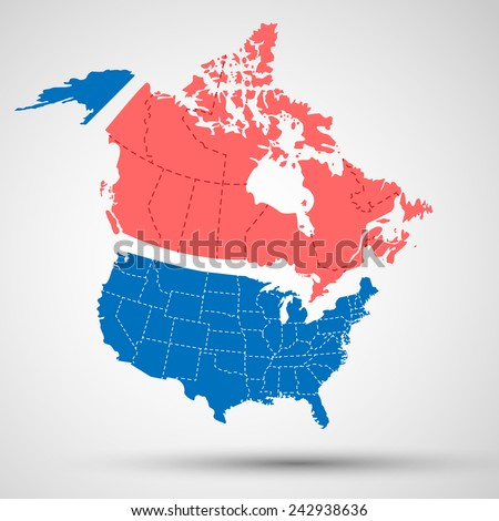 Canada, USA - stock vector