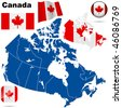 Canada vector set. Detailed country shape with region borders, flags and icons isolated on white background. - stock photo
