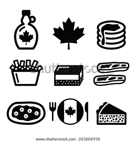 Canadian food icons - maple syrup, poutine, nanaimo bar, beaver tale, tourti�¨re  - stock vector