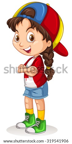 Canadian girl with a cap standing illustration