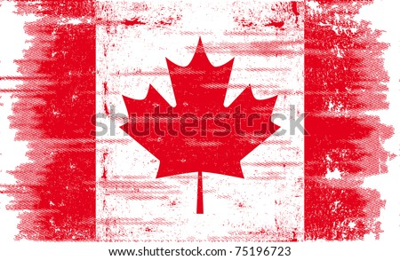 Canadian grunge flag. A canadian flag with a texture. - stock vector
