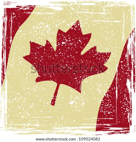 Canadian grunge flag. Grunge effect can be cleaned easily. - stock vector