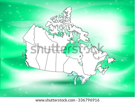 Canadian Map & Background  - stock vector