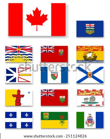 Canadian provinces and territories flags set.Vector - stock vector