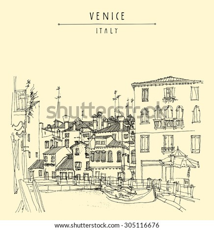 "Canareggio, Venice, Italy, Europe. Gondola, canal, facades. Touristic city view. Vector artistic freehand illustration. Vintage poster or postcard with ""Venice, Italy"" hand lettering"