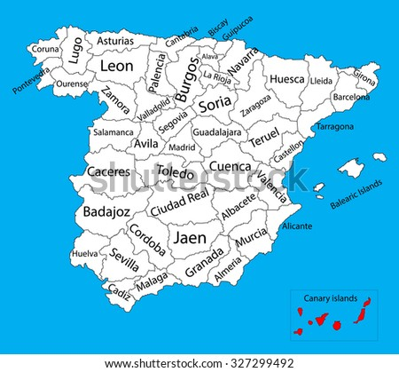 Canary Islands Map Spain Province Vector Stock Vector 327299492