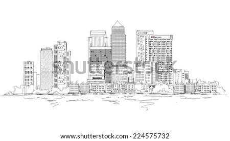Canary Wharf business aria, London, Sketch collection - stock vector